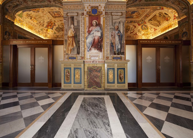 Doors leading to the Salone Sistino, a reading room for printed books in the Vatican Apostolic Library